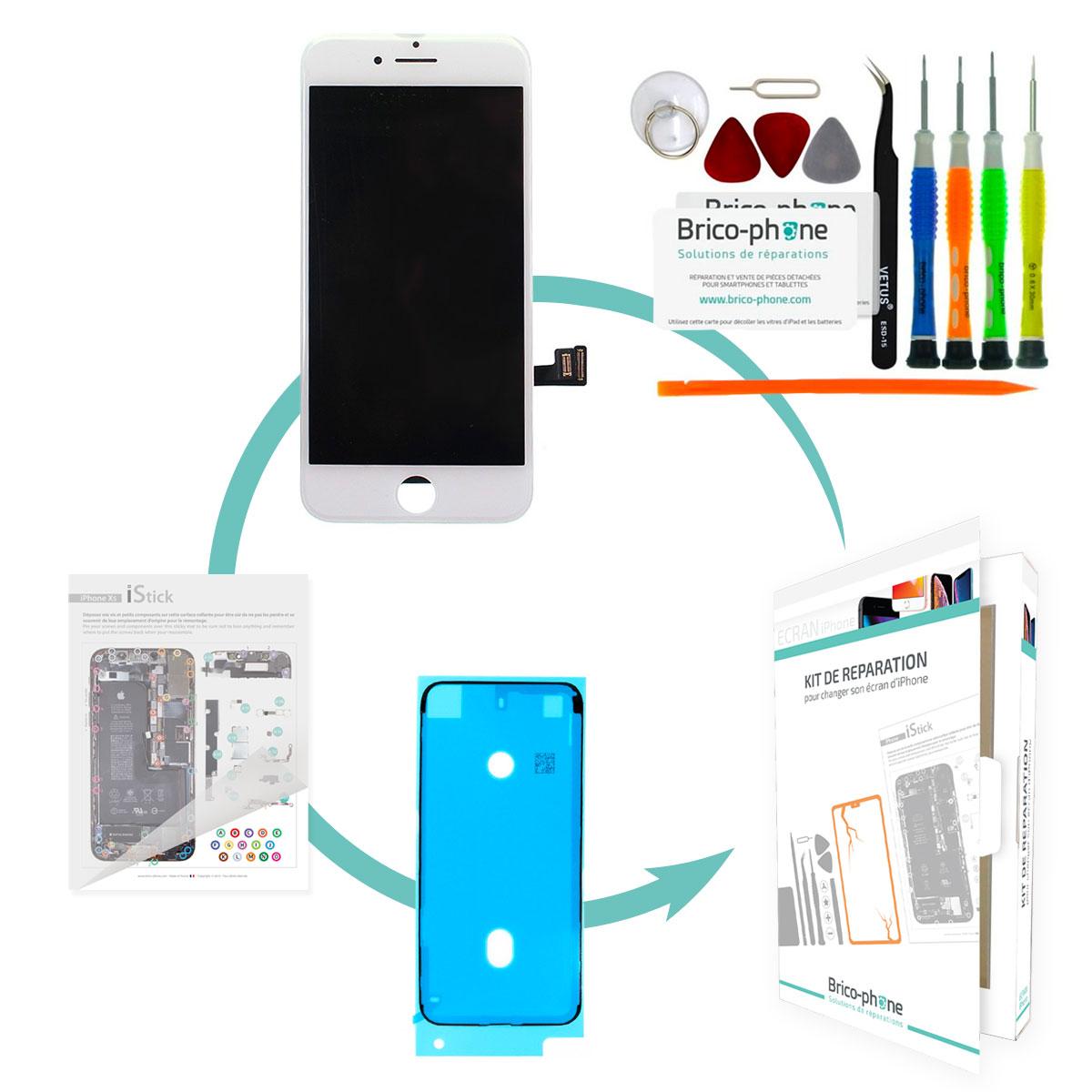 Kit de réparation Brico-phone avec écran BLANC iPhone 7 PREMIER PRIX
