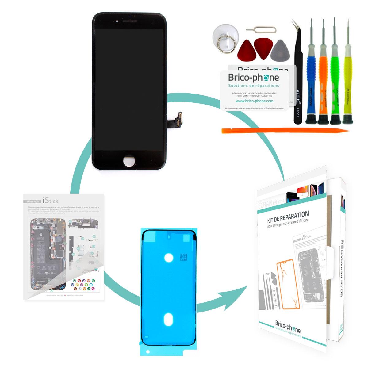 Kit de réparation Brico-phone avec écran NOIR iPhone 7 RAPPORT QUALITE / PRIX