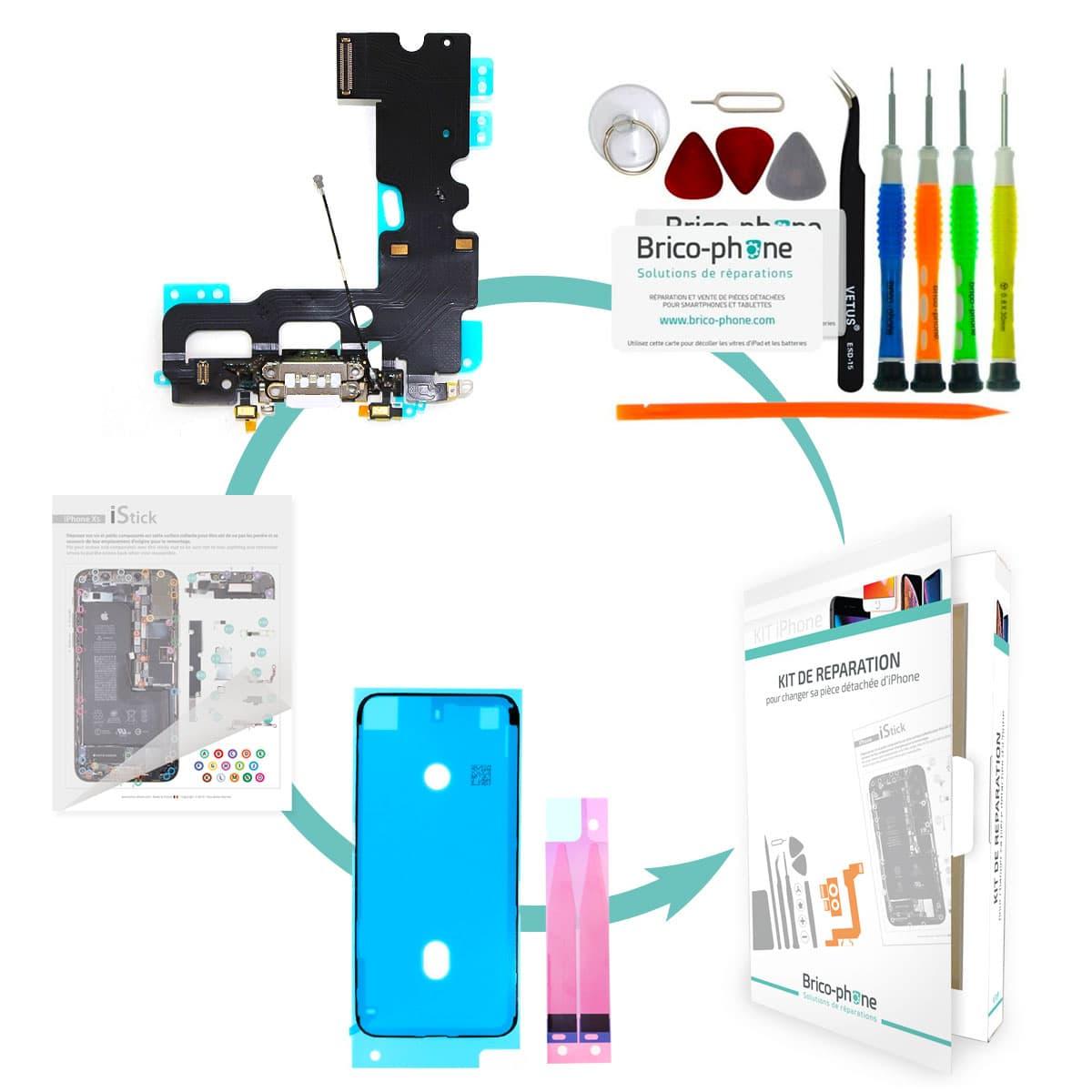 Kit Brico-phone pour changer le connecteur de charge et micro BLANC iPhone 7