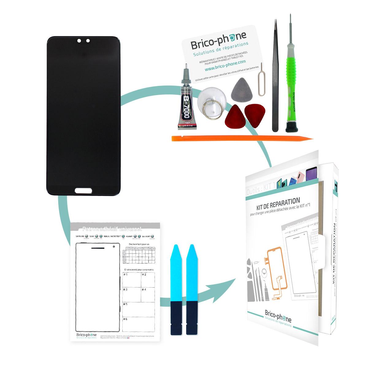 Kit de réparation Ecran Noir avec vitre et LCD prémonté Huawei P20