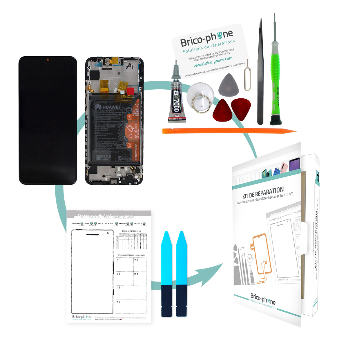 Kit de remplacement Bloc écran Noir complet pré-monté + batterie sur châssis Huawei P Smart 2019