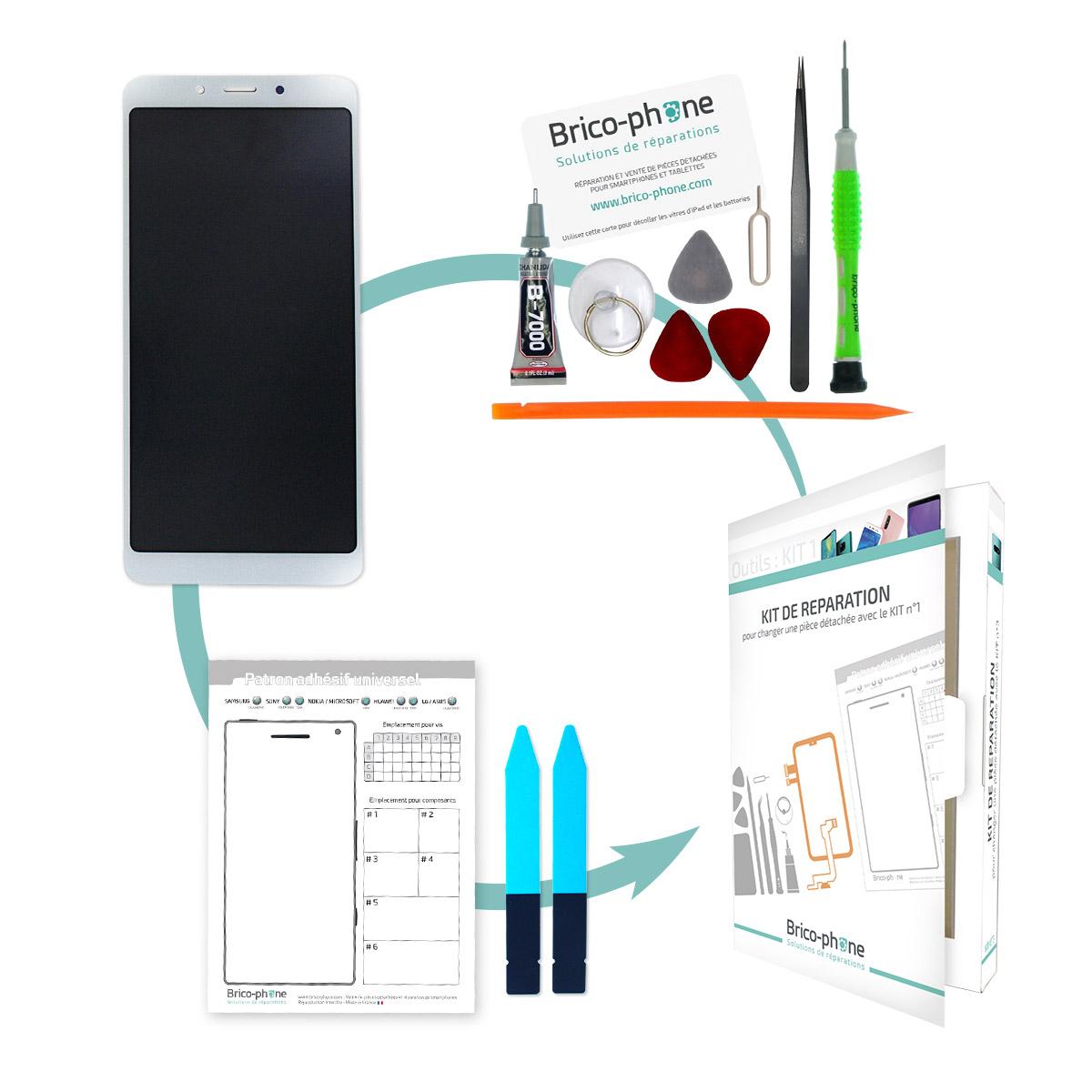Kit de réparation Ecran Blanc avec vitre et LCD pré-assemblé Xiaomi Redmi 6