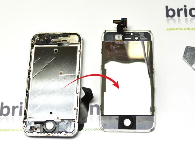 Etape 11g : Retirer le bloc vitre + écran LCD