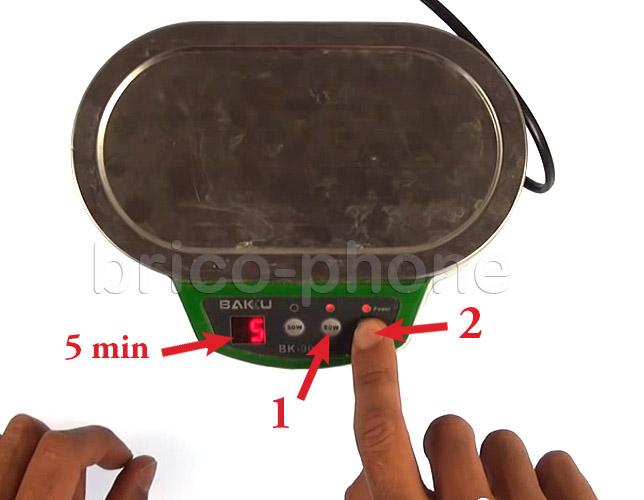 Etape 10d : Utiliser un bac pour bains à ultrasons
