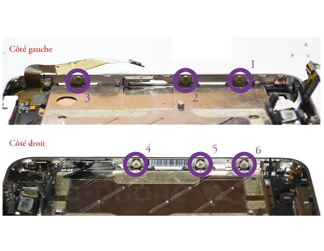 Etape 10a : Retirer le bloc vitre + LCD