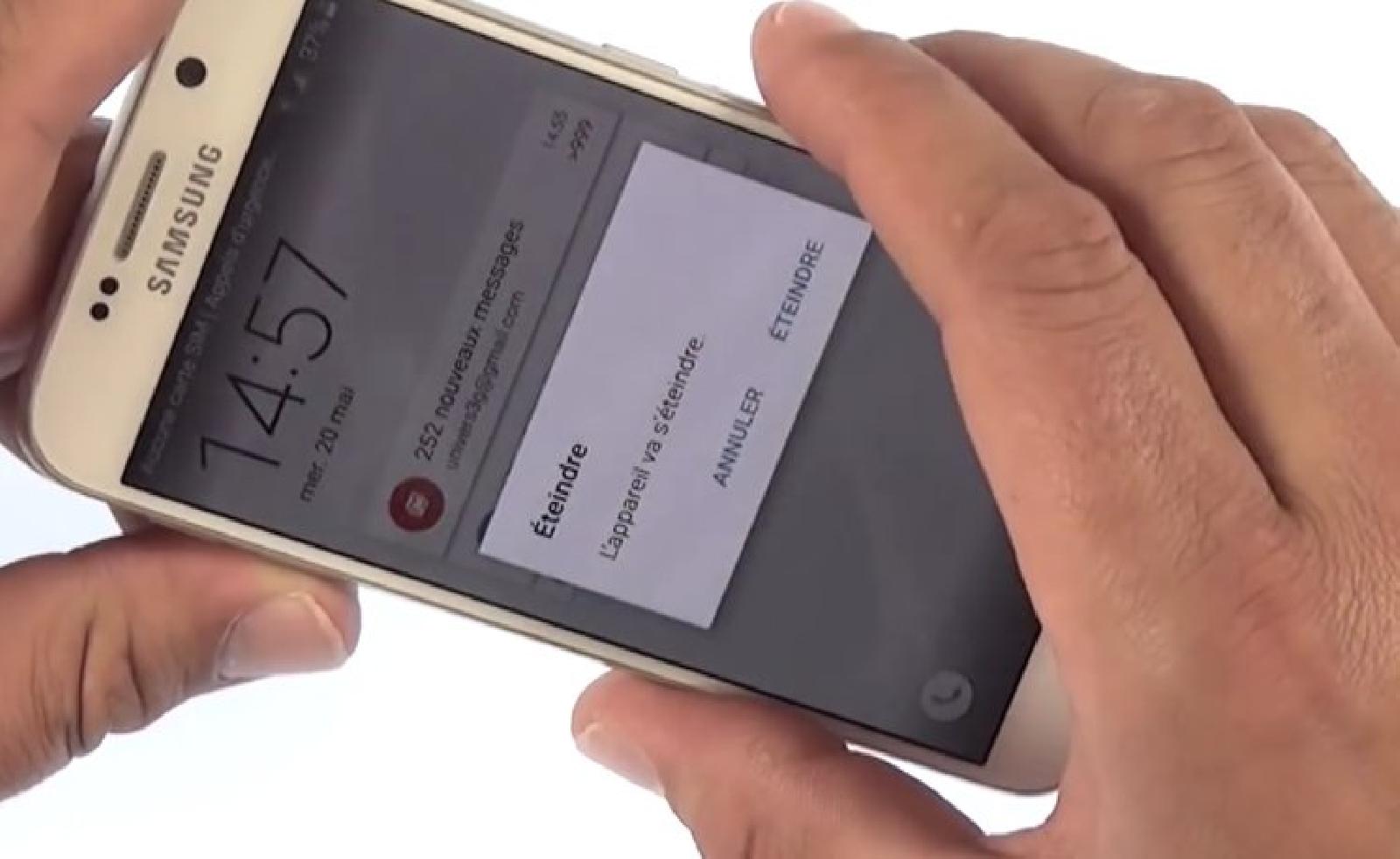 Eteindre le Samsung Galaxy S6 et retirer le rack de la carte Sim.