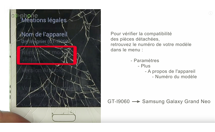 Verifiez le modèle de votre Samsung Grand Neo