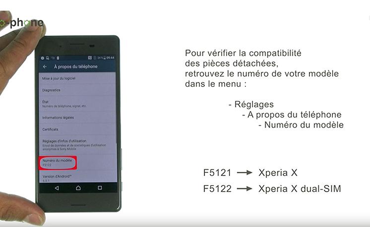 Vérifiez le numéro de modèle de votre Sony Xperia X
