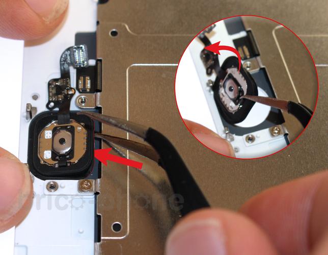 Etape 5e : Retirer la nappe du bouton Home